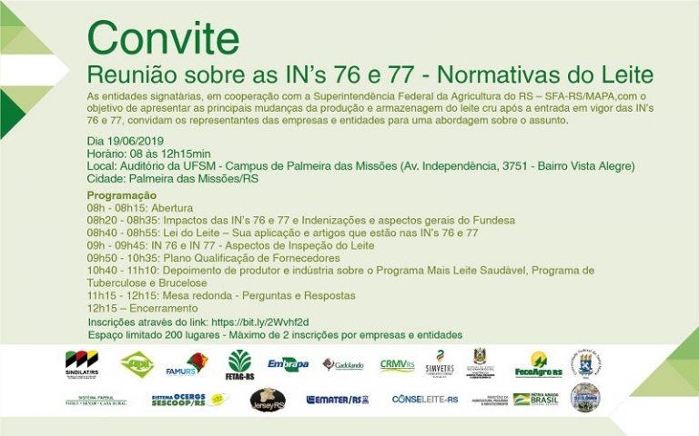 Palmeira das Missões recebe evento sobre as Instruções Normativas 76 e 77