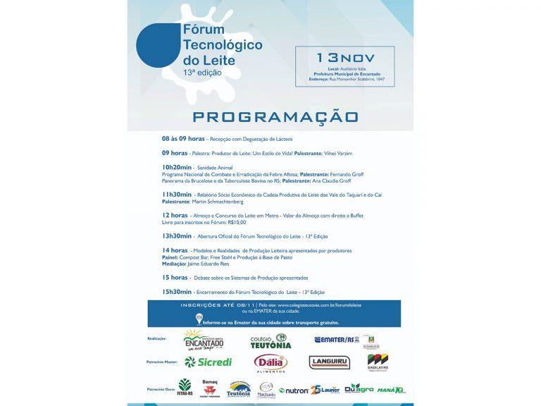 Encantado recebe a 13ª edição do Fórum Tecnológico do Leite